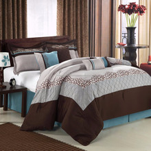 Popular T/C or cotton printed flat bed sheet at much cheaper price/Restful Escape Brown 8-Piece Comforter Set