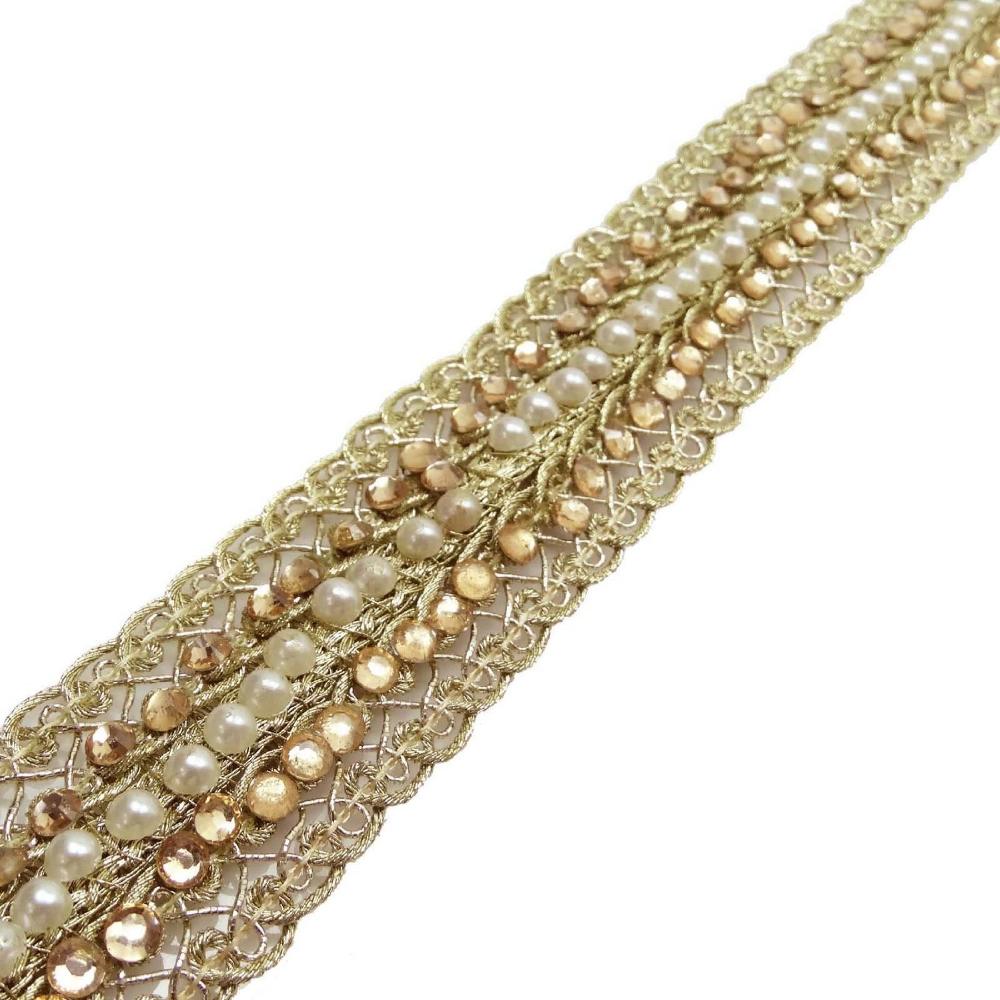 floral craft ribbon gold beaded trim 2 5 cm wide indian
