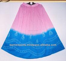 2015 tradicional faldas indias, moda Tie Dye Gypsy falda / Multi color de dos-en-uno de batista de algodón falda larga