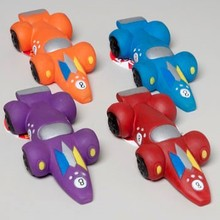 DOG TOY VINYL RACE CAR WITH SQUEAKER 4 COLORS IN PDQ #66887PN