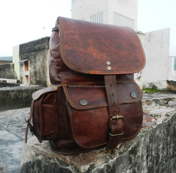 Real rustic brown leather vintage travel/picnic/overnight back pack bag
