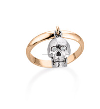 Ring with skull charm 750 Gold 18kt and diamonds