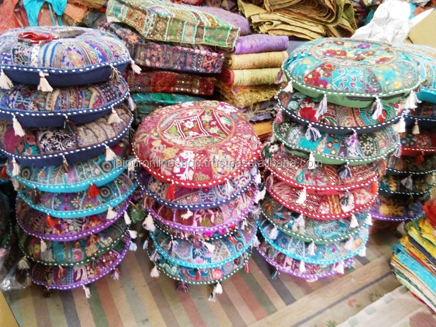 Indian Traditional Patchwork Ottoman Cover Pouf Stool Indian Foot New Indian Pouf Covers