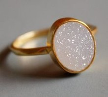Buy Wholesale 15x10 mm Oval Opal White Drusy Rings only for ladies direct from manufacturing
