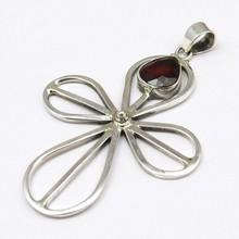 Let Things Go !! X Garnet 925 Sterling Silver Pendant, Silver Pendant, Gemstone Silver Jewelry