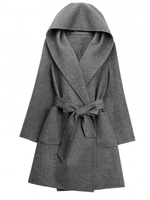 Stylish Solid Color Hooded Tight Waist Women Coats