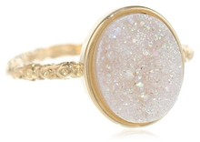 Buy Wholesale 10x8 mm Oval Opal White Drusy Rings only for ladies direct from manufacturing