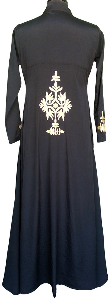 Lush or brodé noir Abaya en crêpe