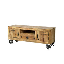 INDUSTRIAL TROLLY STYLE TV STAND , PALACE ON WHEALS TV STAND, TV STAND WITH WHEALS CART