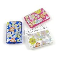 Decal Acrylic Beads Rectangle mixed colors 18x28x6mm Hole:Approx 2mm Sold By PC