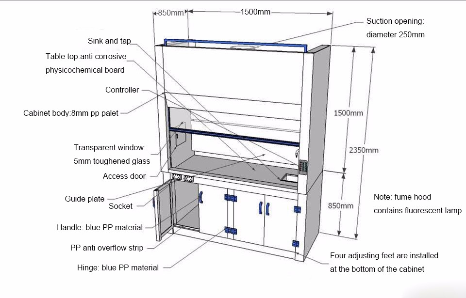 1500mm pp chemical fume hood chemical safety cabinet