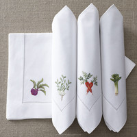 hand embroidery napkin 18'' - Vegetables design