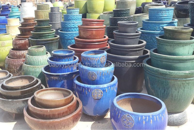 Viet nam poterie fournisseur bleu ronde vitrage ext rieur for Ceramique exterieur