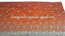 New African Nigerian Sequins Work Water Orange George Wrappers SM00403
