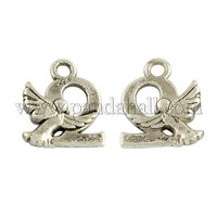 Tibetan Style Alloy Pendants, Number 2 with Angel, Cadmium Free & Lead Free, Antique Silver, 14.5x12x3mm, Hole: 2mm