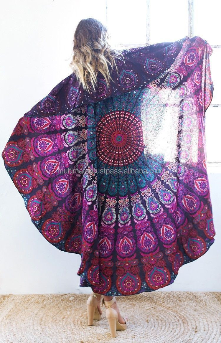Indiano Rodada Hippie Mandala Praia Jogar Tapete de Yoga  ~ Quarto Personalizado Hippie