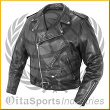Best Quality 100% Genuine Leather Jacket Brando Biker Motorcycle: All Sizes