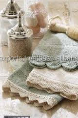 100% cotton high quality terry color soft embroidery lace bath towel