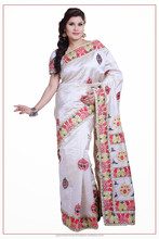 Indian Off White color Silk Saree From India