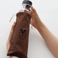 Best Price Bear Pattern Portable Fruit Lemon Juice Sport Hiking Camping Water Cup Holder Travel Bottle Cover Canvas Bag