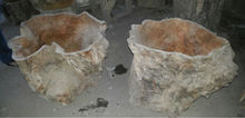 Natural tree trunk wooden pot and planter