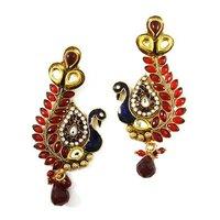 Ethnic Indian Party Wear Jewellery Peacock Chandelier Earrings Gold Tone Designer Earring Set Jewellery Gift For Her -BSE3289