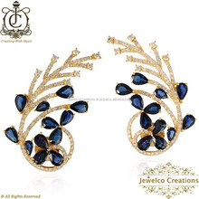 14K Yellow Gold Blue Sapphire Gemstone Designer Stud Earrings, Natural Diamond Pave Sapphire Gemstone Handmade Women Jewelry
