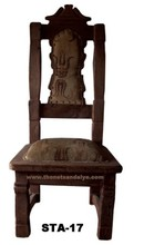 antique reproduction high carved back wood throne chair