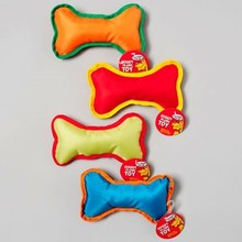 DOG TOY 8 INCH CANVAS BONE WITH SQUEAKER 4 COLORS IN PDQ #66931P