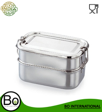 Stainless Steel Rectangular Double Lunch Box