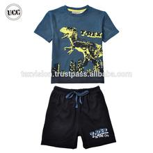 Marca de buena calidad para niños de algodón patrón de dinosaurio pijamas navidad