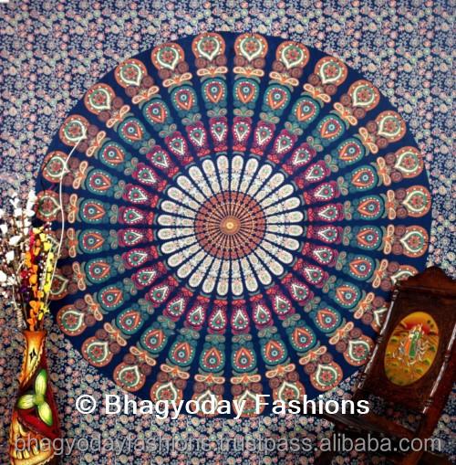 Indien peacock mandala tapisserie boho boh me couvre lit for Decoration murale ethnique