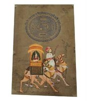 King Queen Camel Riding Painting Handmade Dcorative Antique Rajasthani Wall Painting
