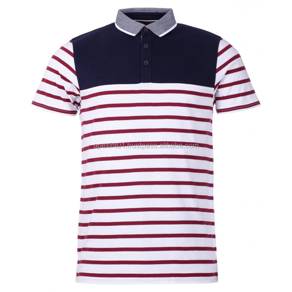 New stripped men polo shirts custom design polo shirt 2016 for Custom polo shirt design
