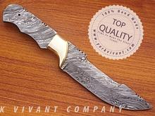 Hunting Knife, Custom Handmade Damascus Steel Fixed Blank Blade YV-535 Full Tang & Full Damascus