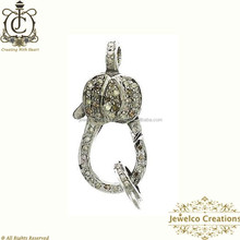 Pave Diamond 925 Sterling Silver Designer Jewelry Component, Natural Diamond Pave Finding, Handmade Jewelry Lock Clasp