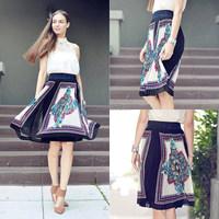 Moroccan Print Accordion Skirt