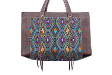 Large Leather Tote With In-House Guatemalan Diamond Embroidered Fabric - Orange