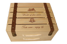 Wooden box, six bottles of wine box, 6 bottles of olive oil box, Pine box, Solid wood box, Package box,