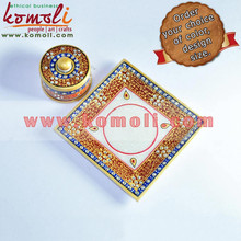 Marble Carving Handpainted Marble Tray & Dry Fruit Containaier with Embossed and Kundan work