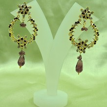 Wholesale Awesome Gold Plated Indian Bali Style Light Weight Purple Earrings