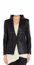 2015 FASHION STYLISH BUSINESS MEET PATTERN LEATHER BLAZER FOR WOMENS