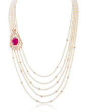 PEARL NECKLACE WITH RUBY STONE AND WHITE DIAMONDS