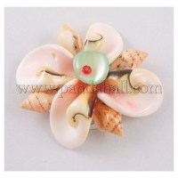 Natural Fancy Shell Cabochons, Seashell Flower, Nice for Necklace Making or Flower Decoration, Pink SH063