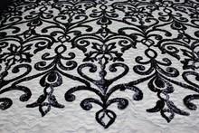 Elegant Designer Lace Sequin Fabric with Star Design on Jacquard Mesh