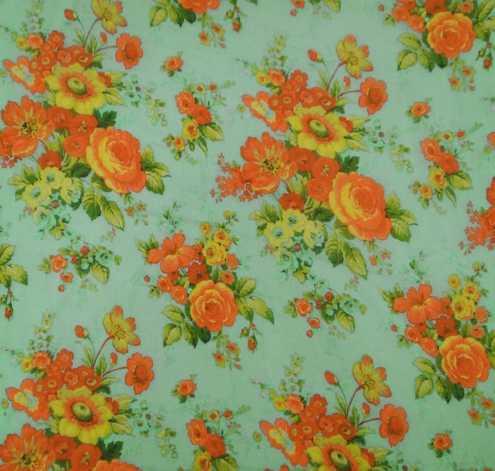 Green designer fabrics 42 wide light weight floral print for Purchase fabric by the yard