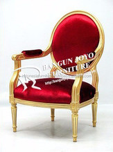 Gold classic style royal wooden Red leather dining chairs