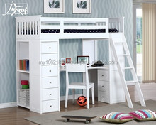 Good quality wooden bunk bed in white, single bed loft bunk