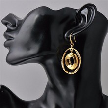 Free Shipping Nickel Free 2015 Fashion Big Hoop Earring 18K Gold Plated