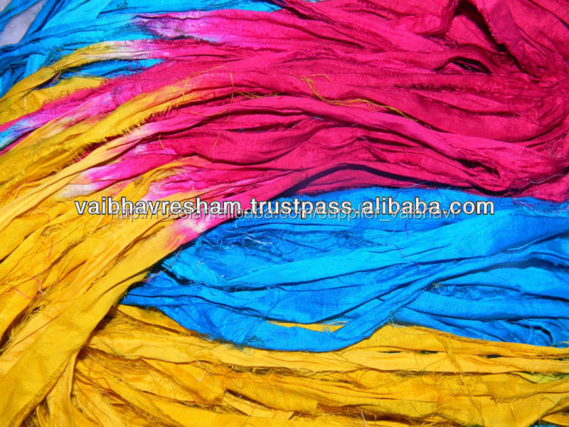 Verrigated восстановленный сари шелковой лентой для вязания& корабль работы